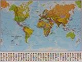 Weltkarte politisch klein: laminiert, mit Flaggen, englisch