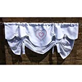 White 100% Flax Linen Red Heart Tie Up Curtain Valance Scallop Bathroom Sheer Curtain Embroidered Bedroom Curtain