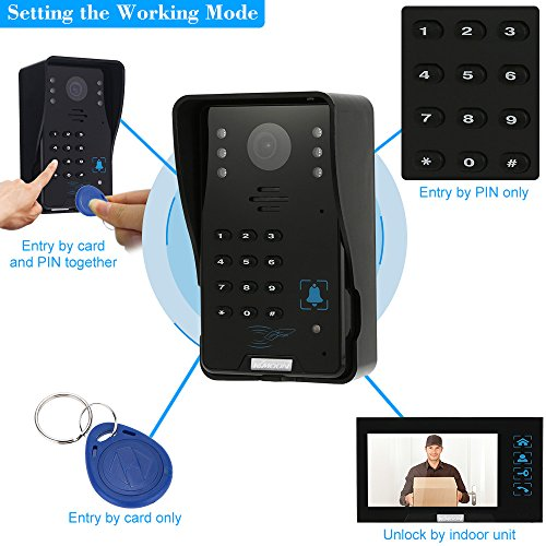 "KKmoon 7"" Video Door Phone Intercome Doorbell Video Entry Intercom Kit with Key 1-camera 1-monitor Touch Button ID RFID Cards/Code Unlock Night Vision Rainproof"