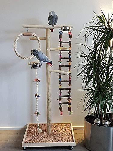 Kletterbaum aus Holz, Papageien Freisitz HÄNGEBRÜCKE Papageienspielzeug 1,40