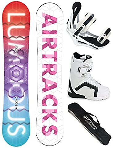 AIRTRACKS SNOWBOARD SET - PLANCHE LUMINOUS FEMME 145 - FIXATION SAVAGE W - SOFTBOOTS STRONG W 37 - SB BAG