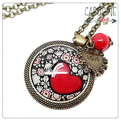 Sautoir bronze avec cabochon coeur et fleurs - Long collier coeur et fleurs - Le Cœur en Fleurs - Idée cadeau Saint Valentin, cadeau femme, cadeau, Noel