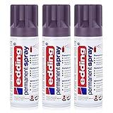 edding Permanent Spray Premium-Acryllack lila 200ml – seidenmatt – Sprühlack deckt sofort, trocknet extrem schnell und hält dauerhaft innen & außen, für Glas, Metall, Holz, Kunststoff uvm. (3er Pack)