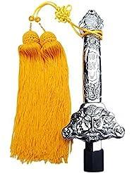 Espada de extensión chino Tai Chi Kung Fu espada retráctil de acero inoxidable rendimiento ejercicio telescópico espada no Edge 90cm, Sliver with yellow