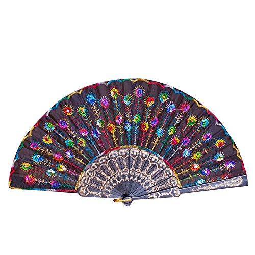 Andouy Retro Faltfächer/Handfächer/Papierfächer/Federfächer/Sandelholz Fan/Bambusfächer für Hochzeit, Party, Tanzen(25cm.Mehrfarbig)