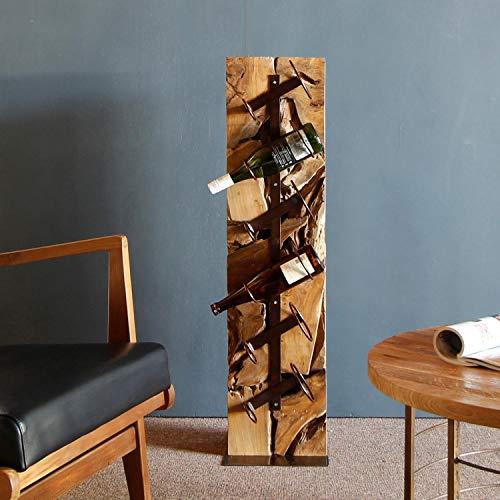 Weinständer Weinregal Weinsäule Teak Holz 100 cm Flaschenregal massiv UNIKAT Handarbeit für 6 Flaschen