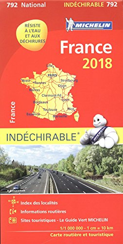 Carte France Indéchirable Michelin 2018