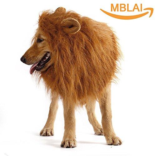 Hund Löwe Mähne, MBLAI Kordel Knopf Einstellbar Löwenmähne für Hund Groß Mittel mit Ohren für Weihnachten Halloween Cosplay Festival - Große Hund Halloween-kostüme