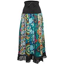 Falda maxi o vestido patchwork con cinturilla elástica, aprox. 100 cms de largo
