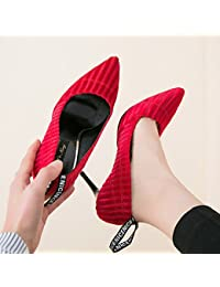 GAOLIM Zapatos De Mujer De Tacón Alto De Rayas Negras En La Primavera De Punta Fina Zapatos De Boda Con Los Estudiantes.