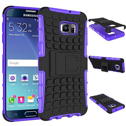 Qiaogle Telefon Case - Shockproof TPU + PC Hybrid Ständer Schutzhülle Case für Apple iPhone 5 / 5G / 5S / 5SE (4.0 Zoll) - HH08 / Orange HH03 / Lila