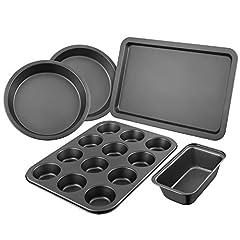 Idea Regalo - Set da forno, Set teglie da forno, DEIK Set pasticceria da 5 pezzi, Stampo per dolci, Rivestimento antiaderente/ Lavastoviglie/ Acciaio al carbonio