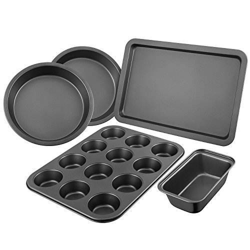 DEIK Baking Set, Nonstick Baking Sheet, Bakeware Set 5 Pieces, Dishwasher and Oven Safe up to 500℉, High Carbon Steel Loaf Pan with Non-Stick Easy Food Release Coating
