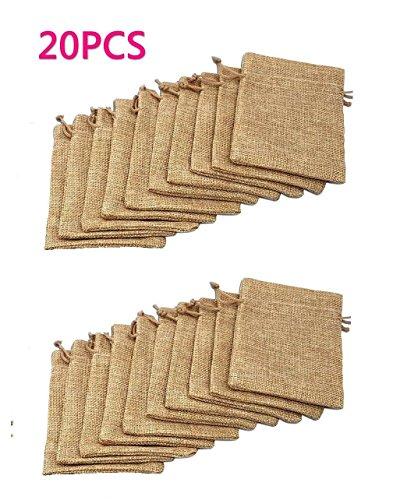Beutel Leinen Jute Beutel Schmuck Säckchen mit Zugband Sackleinen Tasche Geschenksäckchen für Hochzeitsfeier und DIY Handwerk,9.5x12.5cm Natural (Sackleinen-tasche)
