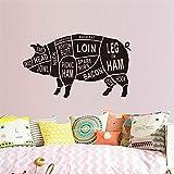 Adesivo Murale Parte Del Corpo Animale Piggy Pig Chop Chop Decal Per Laboratorio Di Studio Per Bambini