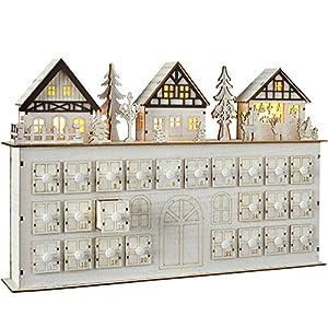 WeRChristmas Pre-Lit Wooden Village Scene House Advent Calendar Christmas Decoration, 44 cm - White
