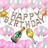 Vegena Geburtstagsdeko, Kindergeburtstag Deko Geburtstag Dekoration Set, 51 Stücks Happy Birthday Dekoration, weiß Rosa Luftballons+ Pentagramm Weinglas Weinflasche Ballons + Band + pumpe