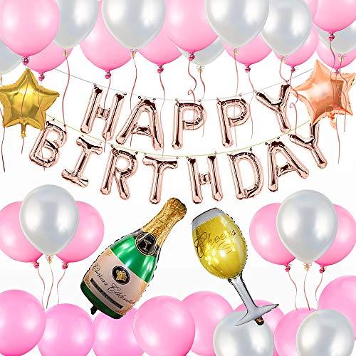 Décorations Anniversaire, 51 pcs Anniversaire bannière Décoration Fête ,30 ballons de poudre de perle blanche perle + 2 ballons Pentacle + 1 verre à vin ballons +1 bouteille de vin ballons + 3 bandes +1 pompe + 13 ballons de HAPPY BIRTHDAY
