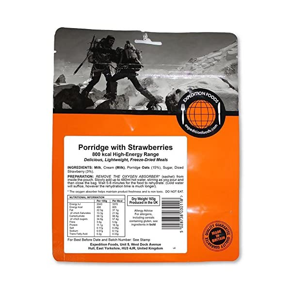 EXPEDITION FOODSexpeditionfoods.com Unisex's Porridge with Strawberries | Freeze-Dried Camping & Hiking Food| High Energy Serving |800kcal Meal