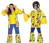 KarnevalsTeufel Kostüm Flower-Hippie 3-tlg. Hose Weste Stirnband blau gelb mit Blumenmotiv weite Ärmel und Beine