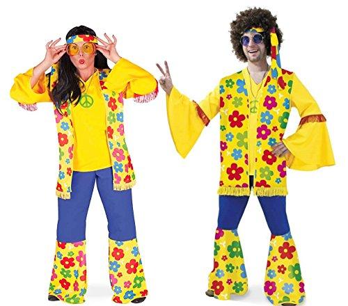 Flower Kostüm - KarnevalsTeufel Kostüm Flower-Hippie 3-TLG. Hose Weste Stirnband blau gelb mit Blumenmotiv Weite Ärmel und Beine