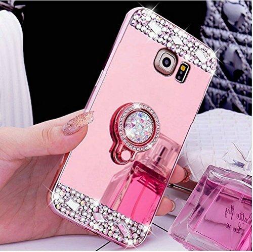 Preisvergleich Produktbild Felfy Hülle Silikon für Galaxy S6,Samsung S6 SchutzHülle,Galaxy S6 HandyHülle Glitzer Bling Kristall Strass Diamant Spiegel Hülle mit Ring Fingerhalterung Ständer Überzug Mirror Spiegel Case,Rosa