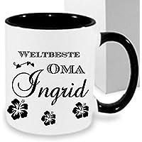 Kaffeebecher WELTBESTE OMA ++Tasse mit Namen Namentasse personalisiert nach Wunsch Weihnachts-Geschenk auch für Opa,Mama, Papa, Bruder, Schwester, Tochter...