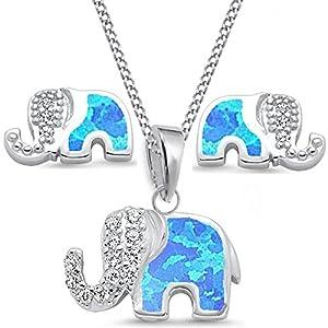Blau Opal Elefant Ohrstecker Anhänger Kette 38-50cm 925 Echt Silber mit Zirkonia Damen Mädchen Set CR015-Blau