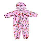 Pioggia Completo Bambini Pioggia Cappotto Impermeabile Impermeabile in Un Unico Pezzo 75-135cm Rosa/M