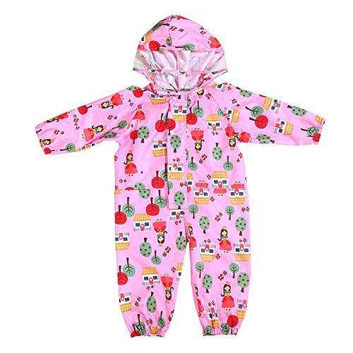 Waterproof Rainsuit Kids,Raincoat Onesie Coverall Baby Waterproof Jumpsuit Children Hooded Rainsuit with Cartoon Printed 75-135cm