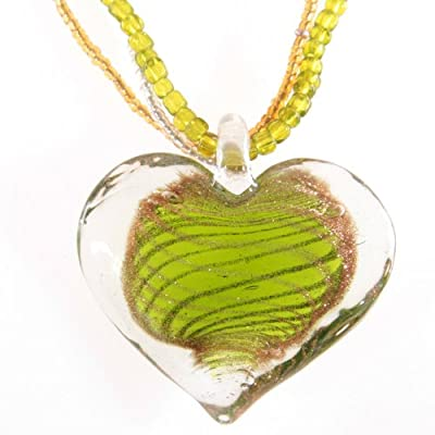 Glass Heart Pendant with Multi Bead Cord - Lime Green and Gold