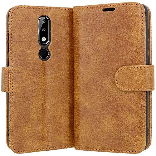 Case Collection Hochwertige Leder hülle für Nokia 5.1 Plus Hülle mit Kreditkarten, Geldfächern und Standfunktion für Nokia 5.1 Plus Hülle