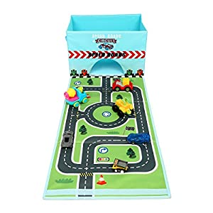Livememory Faltbare Spielzeug-Aufbewahrungsbox aus Stoff für Auto, Spielzeugbox mit lustiger Spielmatte für Kinder (Autos Nicht im Lieferumfang enthalten)