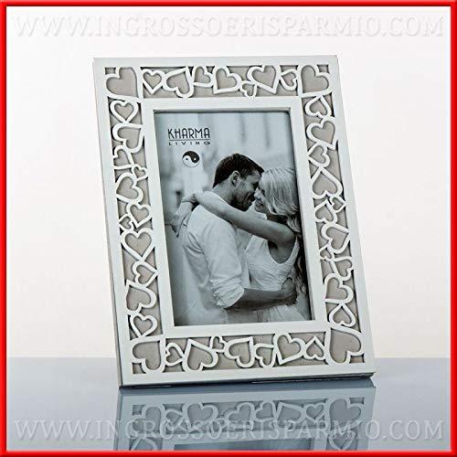 Ingrosso e risparmio cornice portafoto rettangolare da tavolo in legno stile shabby chic con cuori bomboniere matrimonio anniversario (senza confezionamento)