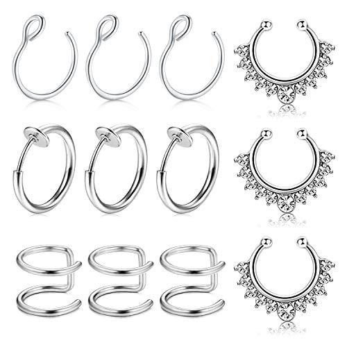 rcing Nasenring Hoop 12 Stück Chirurgenstahl Fake Lippe Ohr Nase Septum Ring Non-Pierced Clip On Nasenpiercing (A-Silber) ()