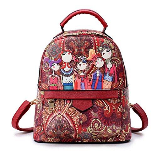 Z&YF Schultertaschen Rucksack Handtasche Drucken beiläufige Tasche Verstellbarer Schulterriemen Rucksack wine red