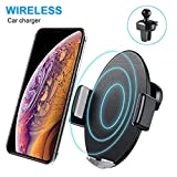 Caricatore Wireless Auto, AURSEN 10W Qi Ricarica Rapida Wireless Auto Vento per Samsung Galaxy S9/S9+/Note 9/Note 8/S8/S8+/S7/S6, 7.5W Car Wireless Charger per iPhone X/XR/XS/XS Max/iPhone 8/8 Plus
