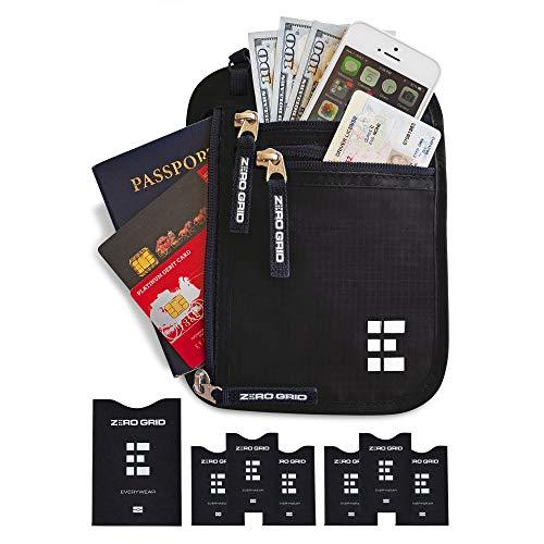 Brusttasche Brustbeutel mit RFID Blocker Reisegeldbeutel Reisedokumententasche (Midnight) EINWEG - Hals Rfid-reise-geldbörse
