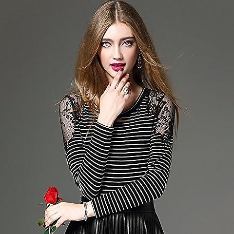 MYM hembra de la camisa bordada pesada camisa de encaje de rayas de manga larga cuello redondo delgado era delgada camisa de la camiseta , horizontal stripes ,