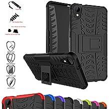 HTC Desire 825 / HTC Desire 10 Life Style Funda,Mama Mouth Heavy Duty silicona híbrida con soporte Cáscara de Cubierta Protectora de Doble Capa Funda Caso para HTC Desire 825 / HTC Desire 10 Life Style Smartphone,Negro