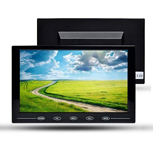 Toguard 9 Zoll Monitor Ultrathin HD 1024*600 Farb TFT Monitor Display Bildschirm Berührungstaste Auto Monitor mit AV/HDMI/VGA Videoeingang, Fernbedienung, eingebauten Lautsprechern für PC Sicherheit