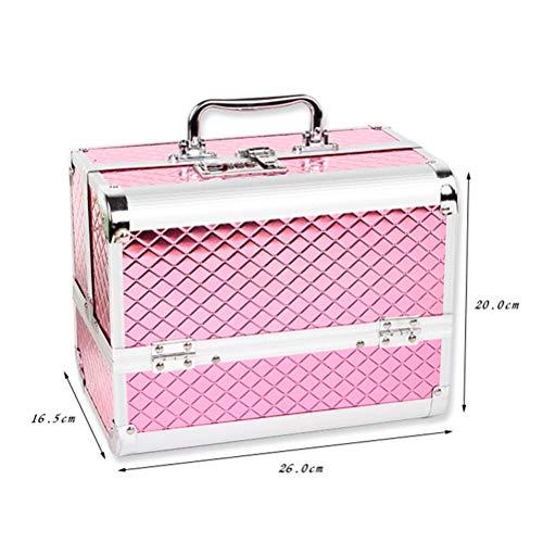 Beauty case Boîte de rangement de sac Malette maquillage de grande capacité de mot de passe de serrure de beauté de maquillage de bijoux d'ongle,Pink