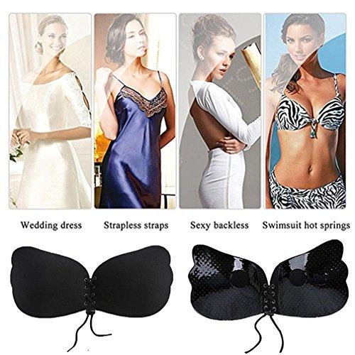 Klebe BHs für Frauen, TMEOG Trägerloser Demi-BH mit dem selbstklebendem Push-Up und Tunnelzug für Rückenfreie Abendkleider,Brautkleider Schwarz