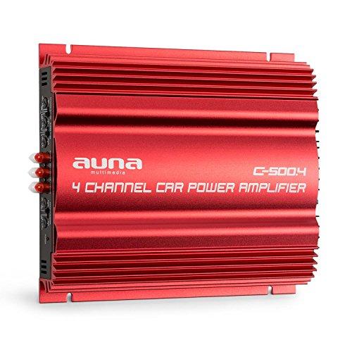 auna C500.4 • Car HiFi Verstärker • 4-Kanal Auto-Endstufe • Car Amplifier • Leistung: 4 x 65 Watt RMS • regelbarer Hoch- und Tiefpass-Filter • Frequenzbereich: 10 Hz - 30 kHz • Brückbar • Rot