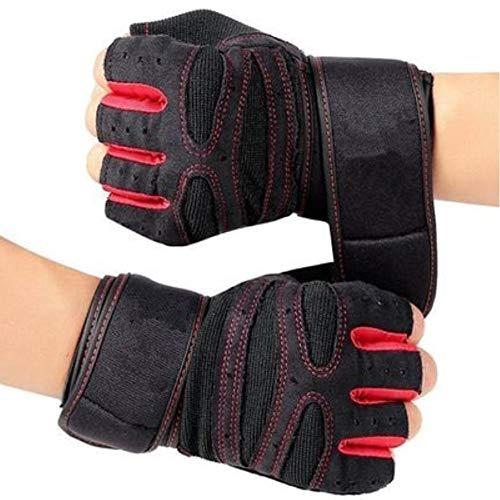KXIN Männer Und Frauen Hantel Armband Rutschfeste Handschuhe, Ausrüstung Krafttraining, Atmungsaktive Anti-Rutsch-Sport Fitness Halbfinger-Handschuhe,Red,M -