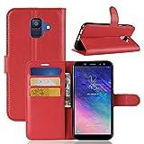 Lapinette Schutzhülle Wallet-Etui für Samsung-Galaxy A6 + Folie rot