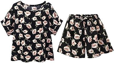 Ropa de mujer talla grande,Switchali Mujer Verano casual moda floral camisa vestido Manga corta blusa + Pantalones cortos 2 piezas grandes ( XL~5XL ) nuevo 2017 barato