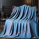 Sommerdecke Seide & Bambusfaser Thermo-Decke Sommer kühle Decke atmungsaktiv weich Sommer Quilt Sommer Bettwäsche Bettdecke,Blue