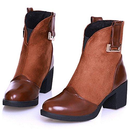 TAOFFEN Damen Trend Einfache und Retro Blockabsat Schuhe Knöchel Stiefel Beiläufige halbe Stiefel Braun