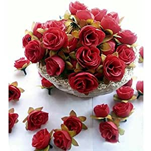 Vorcool 50pcs 3cm rose artificiali capolini Wedding Decoration (rosso)